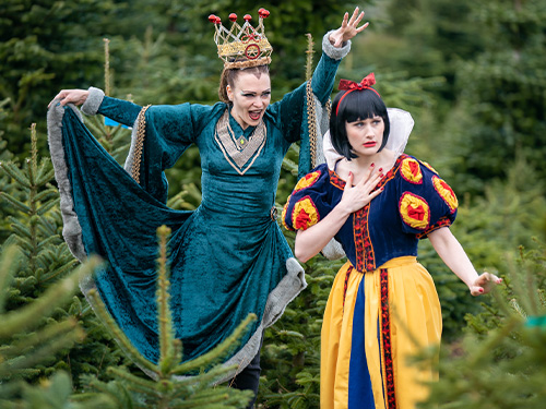 Snow White cast from Princess Theatre, shot at Marldon Christmas Tree Farm.