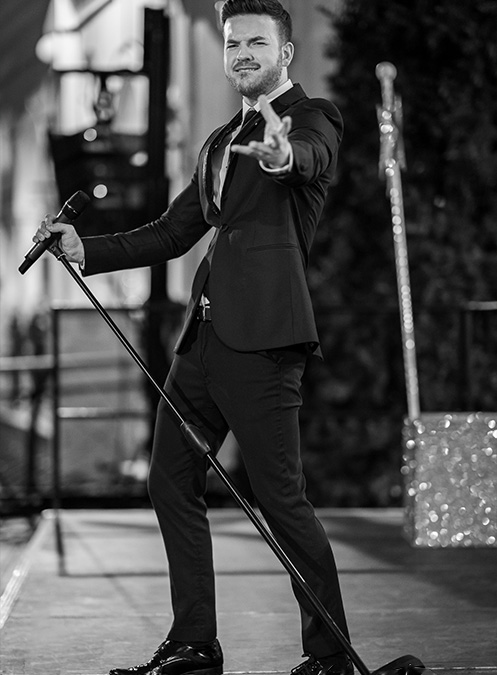 Michael Buble tribute act at the Torquay Christmas Carnival.