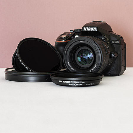 Budget camera with ND filter and step-down rings