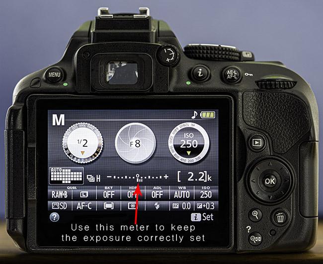 Using the camera's exposure meter