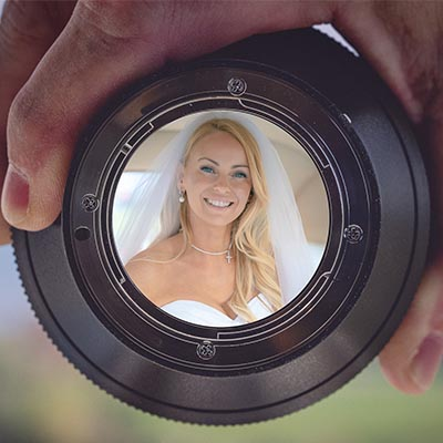 Wedding photo in lens