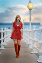 Model walking up ramp at Princess Pier in Torquay.