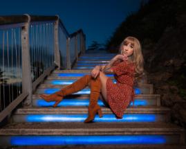 Model portrait photography at Rock Walk in Torquay.