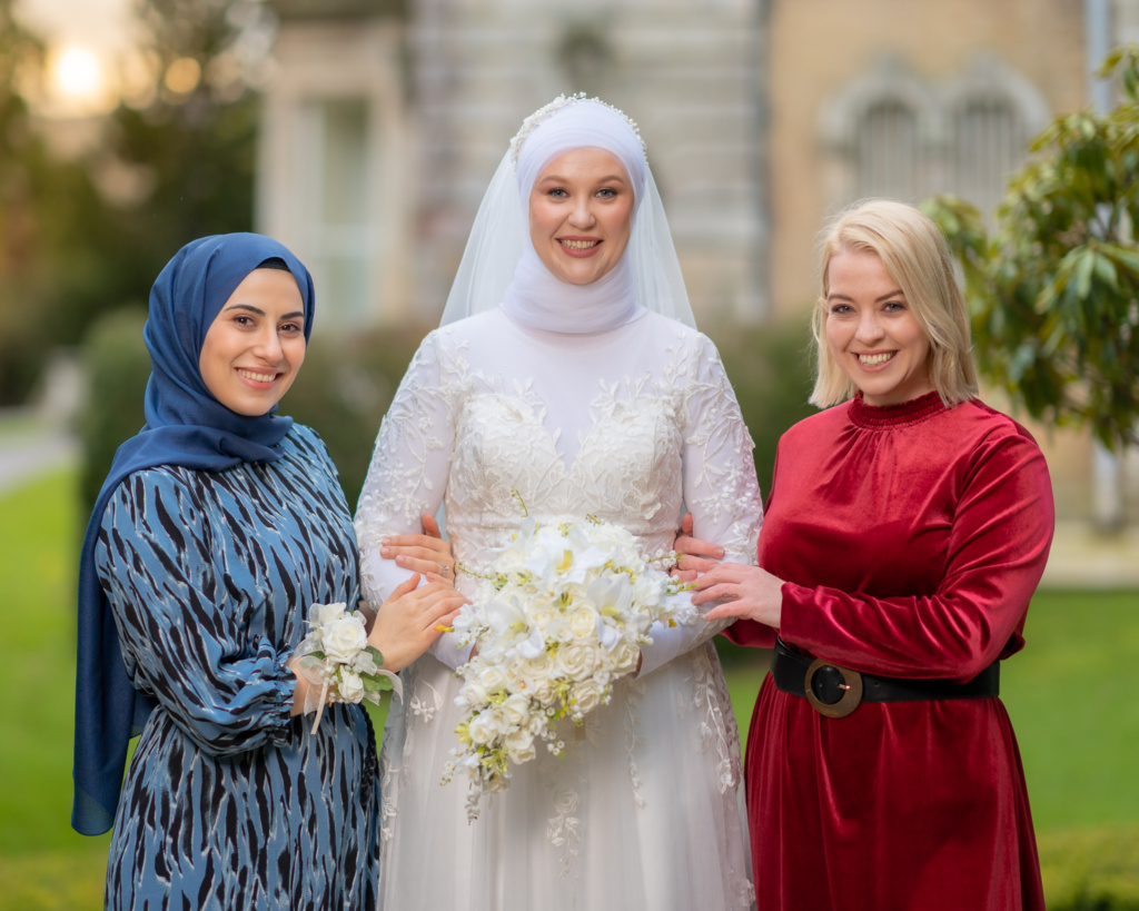 Brides with friends at Exeter University