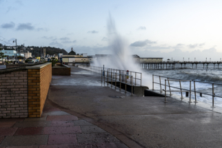 Big wave hitting Teignmouth seafront.