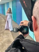 Behind the scenes of the photoshoot.