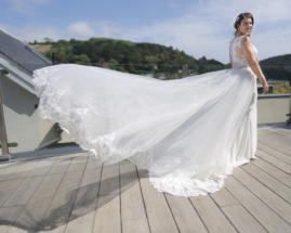 Bride with flowing wedding dress