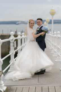 Bride and Groom on Princess Pier in Torquay
