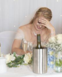 Bride embarrased.