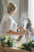 Bride and hair spray