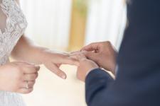 Wedding ring going on finger