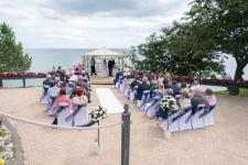 Outside wedding ceremony at the Osborne Hotel in Torquay, Devon.
