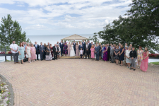 Wide group wedding photo at the Osborne Hotel in Torquay.