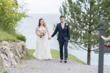 Newlyweds walking